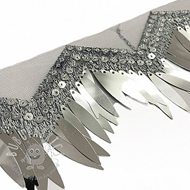 Lace tulle Burlesque zigzag silver