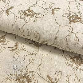 Linen viscose Embroidery Leaves natural