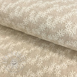 Linen viscose Embroidery Flowers natural