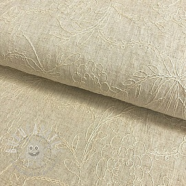 Linen viscose Embroidery natural