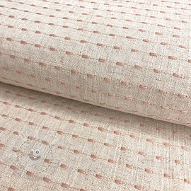 Linen viscose Embroidery stitch natural rose