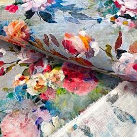 Linen viscose Roses digital print