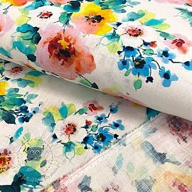 Linen viscose Flower garden digital print