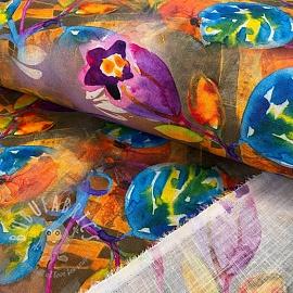 Linen viscose Flowers digital print