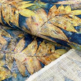 Linen viscose Leaves digital print