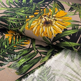 Linen viscose Palms digital print