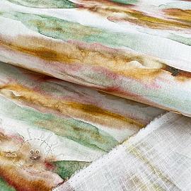 Linen viscose Watercolor digital print