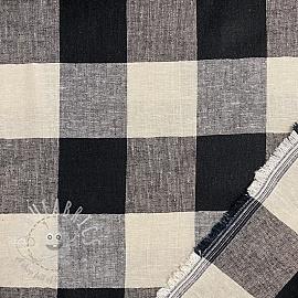 Linen viscose Yarn dyed check black