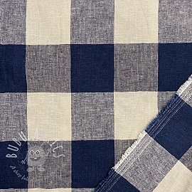 Linen viscose Yarn dyed check navy