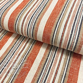 Linen viscose Yarn dyed stripe pumpkin orange
