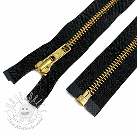 Metal zipper 50 cm black/gold open-end