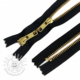 Metal zipper Two Sliders 50 cm black/gold Closed-end
