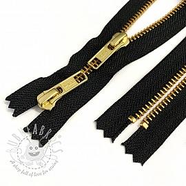 Metal zipper Two Sliders 60 cm black/gold