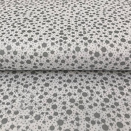 Cotton fabric METALS Dots white silver