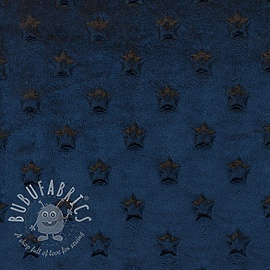 Minky fleece STARS dark blue