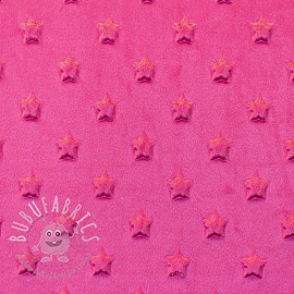 Minky fleece STARS fuchsia