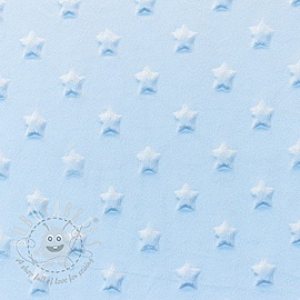 Minky fleece STARS light blue