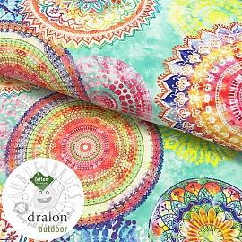 Outdoor decoration fabric teflon MANDALA WATERCOLOUR GREEN