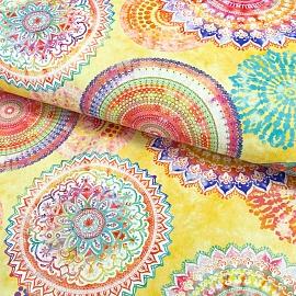 Outdoor decoration fabric teflon MANDALA WATERCOLOUR YELLOW