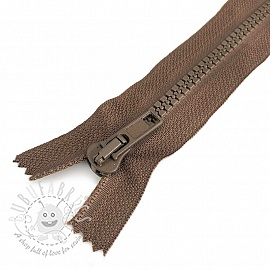Plastic Jacket Zipper  20 cm brown