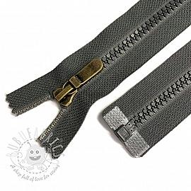 Plastic Jacket Zipper open-end 74 cm grey