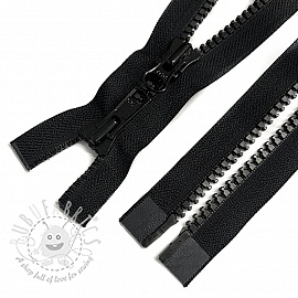 Plastic Jacket Zipper open-end Two Sliders 63 cm black