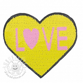 Sequins reversible Heart love yellow