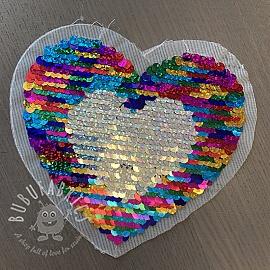 Sequins reversible Heart mini multi silver