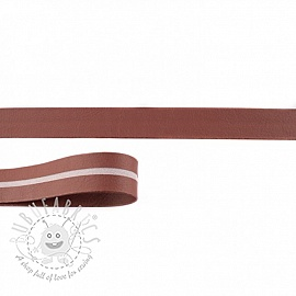 Bias binding imitation leather brown