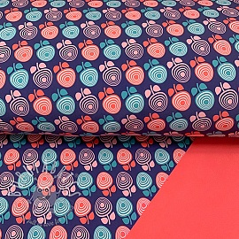 Softshell Retro flower navy digital print