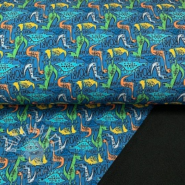 Softshell The dinos are back petrol digital print