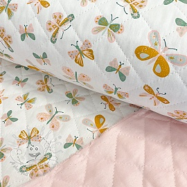 Stepped cotton fabric Butterflies light rose white