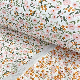 Stepped cotton fabric Flowers white