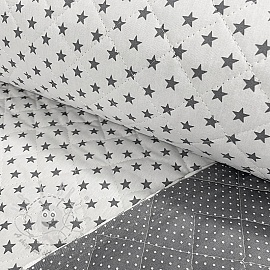 Stepped cotton fabric Stars and dots grey white