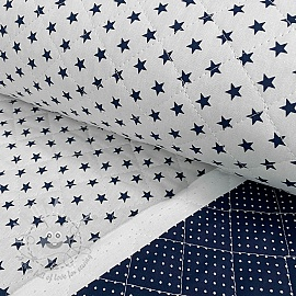 Stepped cotton fabric Stars and dots navy white