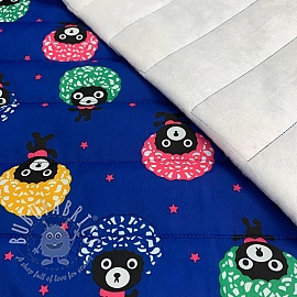 Stepped fabric Afro bear cobalt