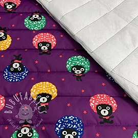 Stepped fabric Afro bear purple