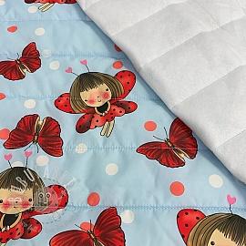 Stepped fabric Ladybug light blue
