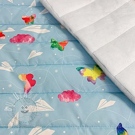Stepped fabric Paper plane light blue
