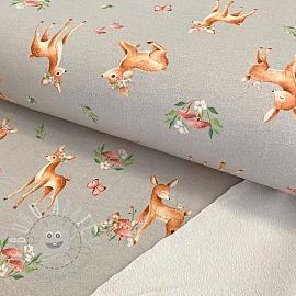 Sweat fabric Baby deer light grey digital print