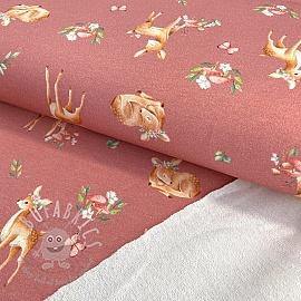 Sweat fabric Baby deer old pink digital print