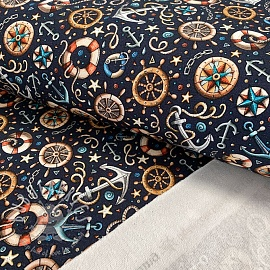 Sweat fabric Go sailing navy digital print