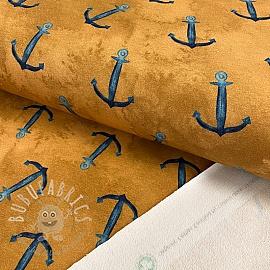 Sweat fabric GOTS Anchor ochre digital print