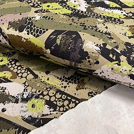 Sweat fabric GOTS Camouflage army green digital print