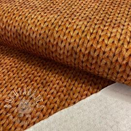 Sweat fabric GOTS Cosy knit look light brown digital print