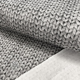 Sweat fabric GOTS Cosy knit look light grey digital print