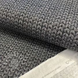 Sweat fabric GOTS Cosy knit look rock grey digital print
