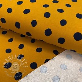 Sweat fabric GOTS Dots ochre