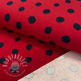 Sweat fabric GOTS Dots red