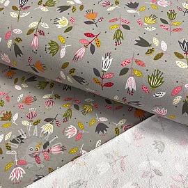 Sweat fabric GOTS Flowers light grey
